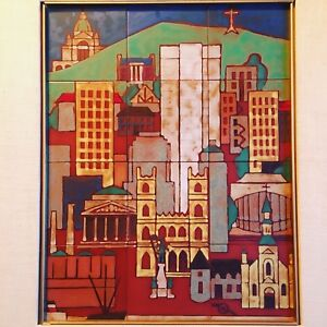 Mid Century Modern Art Pottery Tile Wall Art View of Montreal