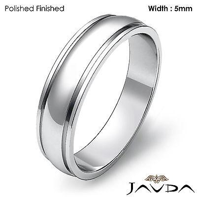 - Plain Dome Step High Polish Ring Men Wedding Solid Band 5mm 14k White Gold 4.9g