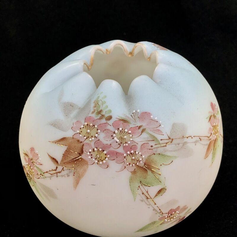 Antique Mount Washington Crown Milano Blue Burmese Art Glass Rose Bowl Flowers