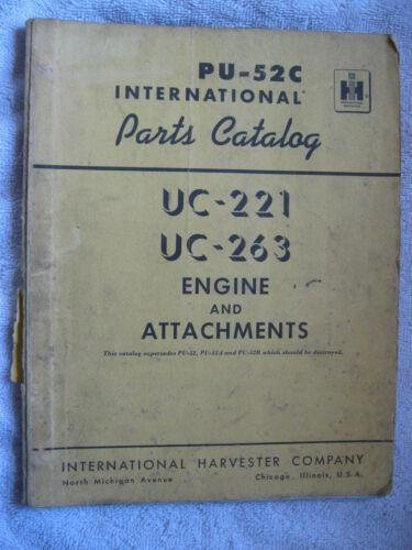 1965 IH INTERNATIONAL HARVESTER UC-221 & UC-263 STATIONARY ENGINE PARTS CATALOG