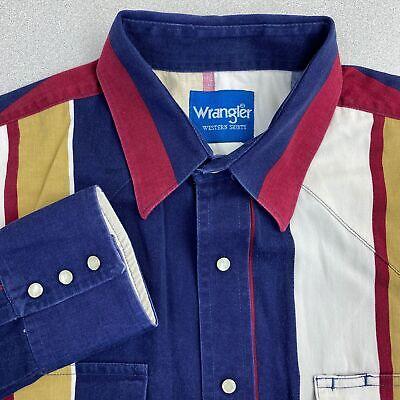 Wrangler Button Up Shirt Mens Sz? Blue Maroon Khaki Striped Pearl Snap (Ups Drop Points)