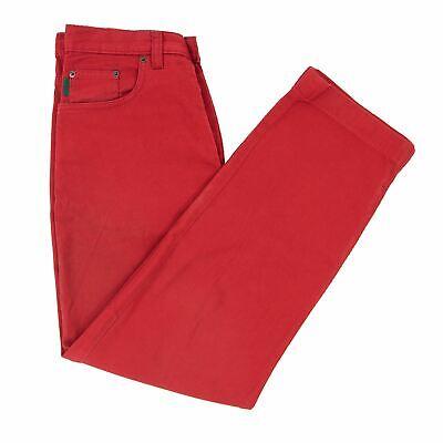 Paul Smith Crimson Red Ribbed Denim Leather Jacron 5-Pocket England Jeans 30W