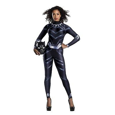 Women's Marvel Black Panther T'Challa Halloween Costume Jumpsuit Mask XS S M L - Panther Costume Women