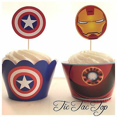 12pcs The Avengers Cupcake Toppers + Wrappers. Jelly Cup Ironman Captain - Captain America Cupcake Toppers