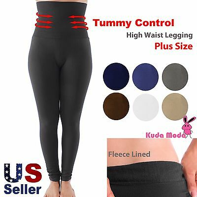 (Women High Waist Fleece Lined Thick Brushed Footless Leggings Pants Plus Size )