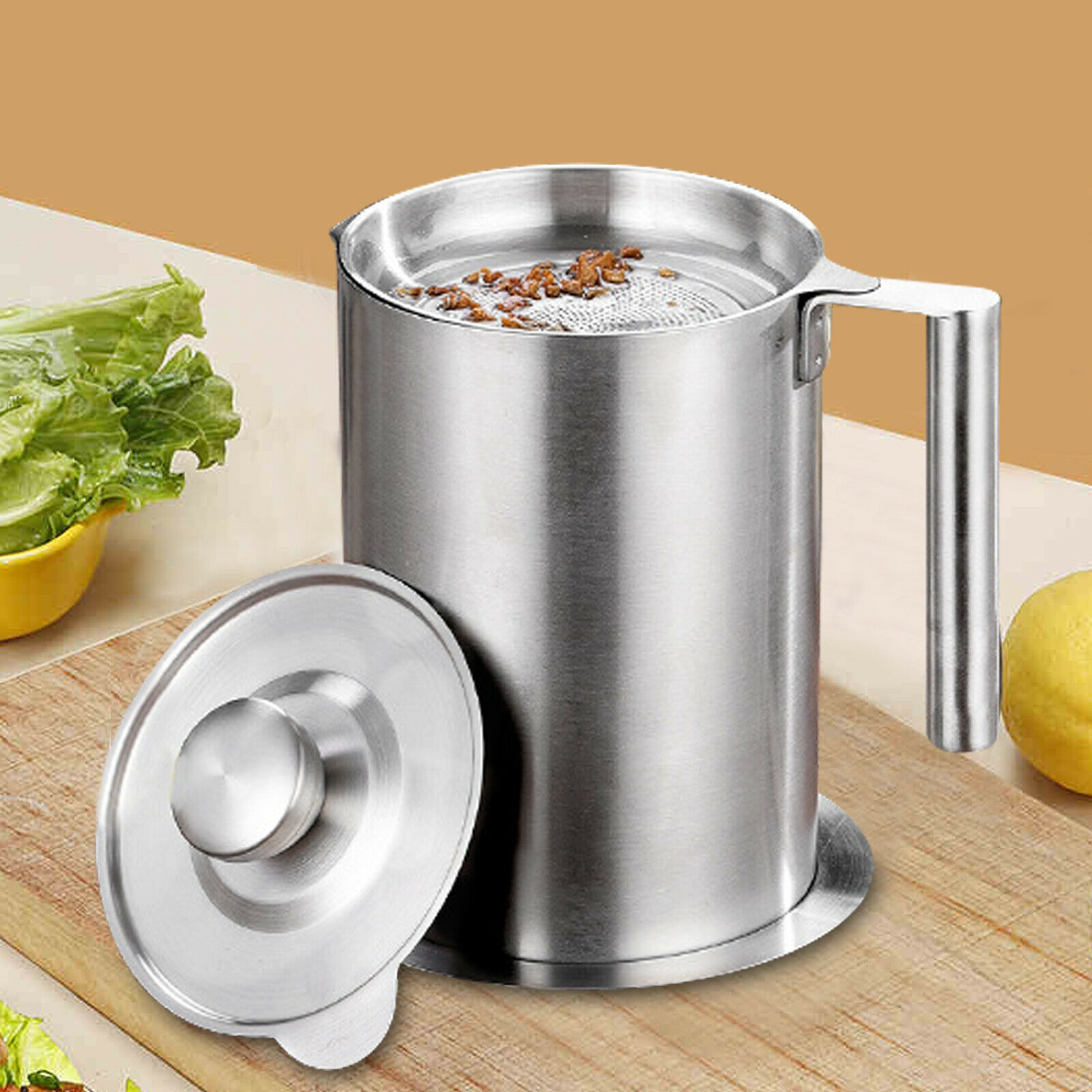 24//32//48oz Stainless Steel Oil Filter Pot Cooking Soup Grease Strainer