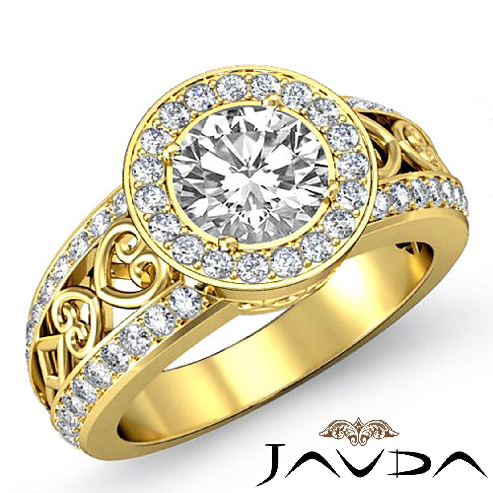 Filigree Shank Halo Pave Setting Round Diamond Engagement Ring GIA F VS1 2.25 Ct