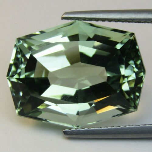 16.11Cts Precision Natural Green Amethyst (prasiolite) Fancy Custom Cut Ref VDO