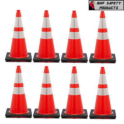 "28 INCH ORANGE SAFETY TRAFFIC CONES W/4 & 6"" 3M REFLECTIVE COLLAR (8/PACKAGE)"