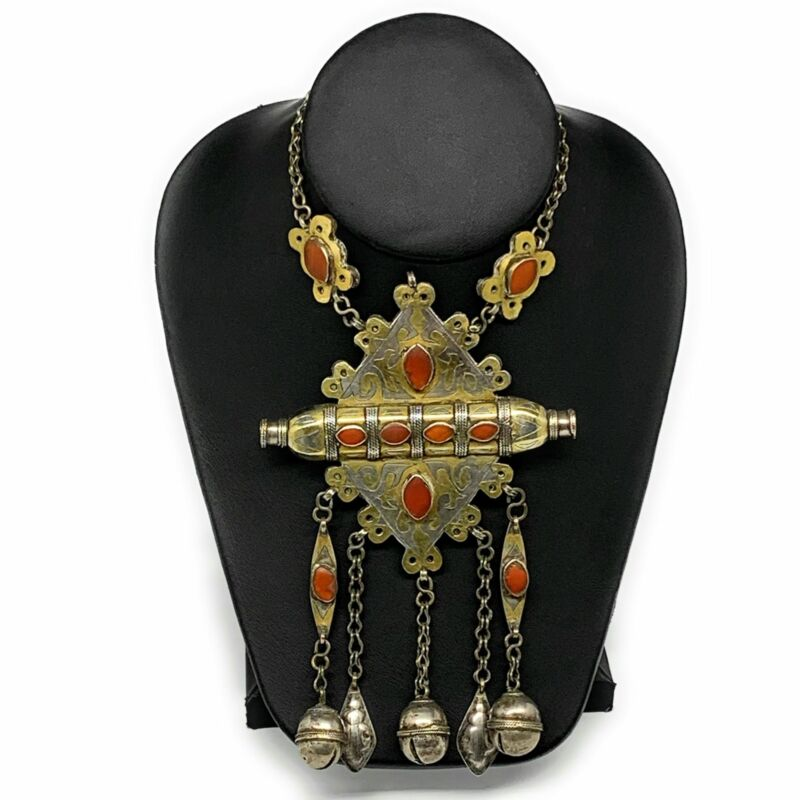 "112.2g, 24"" Vintage Turkmen Necklace Gold-Gilded Silver Rare Pendant, B14487"