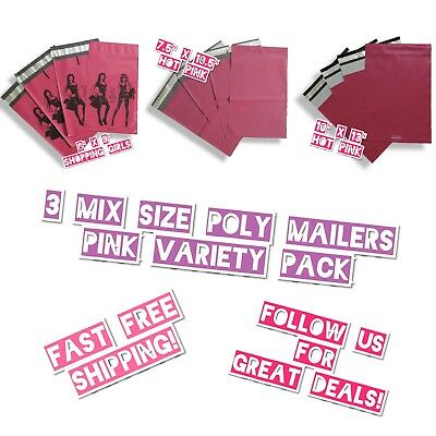 30 Mix Size 6x9 7.5x10.5 10x13 Pink Poly Mailers Variety Pack 10 Ea