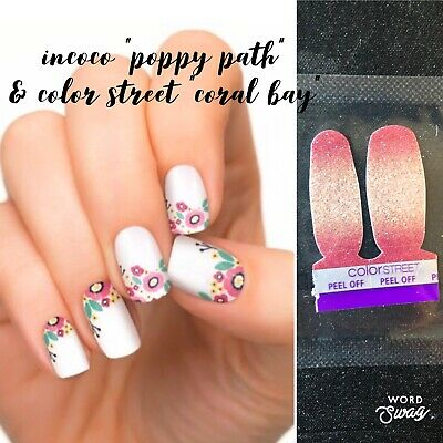 "Incoco Nail Strips, Poppy Path, New w/Color Street ""Bay"" Accent Twosie Pk."