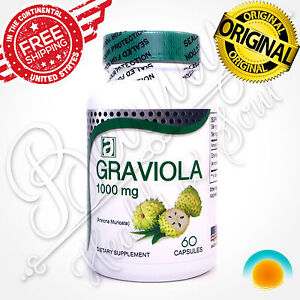GRAVIOLA EXTRACT 1000 mg 1 Month Guanabana Soursop Immune Antioxidant Supplement