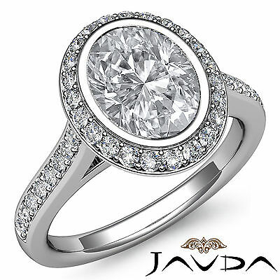Cathedral Halo Pave Bezel Setting Oval Diamond Engagement Ring GIA H VS2 1.8 Ct