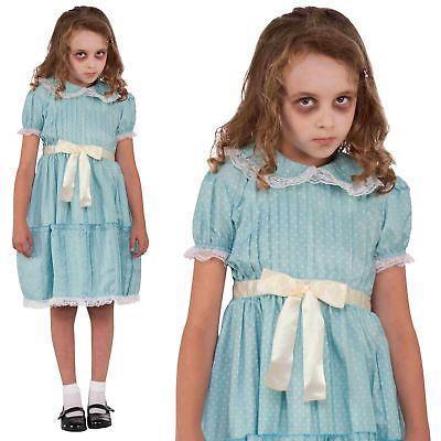 Girls Kids 80 Creepy Sister Doll The Shining Twins Costume Fancy Dress Halloween