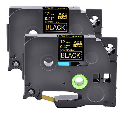 2pk Tz334 Tze334 Gold On Black Label Tape 12mm 12 For Brother P-touch Pt-p700