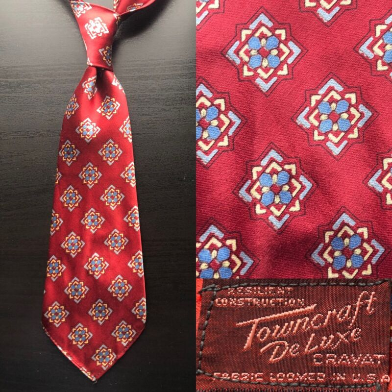 Towncraft Deluxe Geometric Red Tie EUC NOS VTG 1930s 1940s Bold Look Art Deco