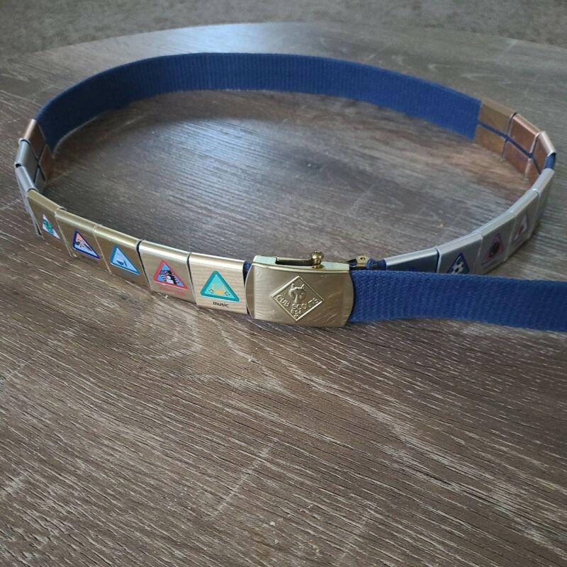 Cub Scouts Boys Uniform Belt with 16 Merit Activity Badges Metal Slides