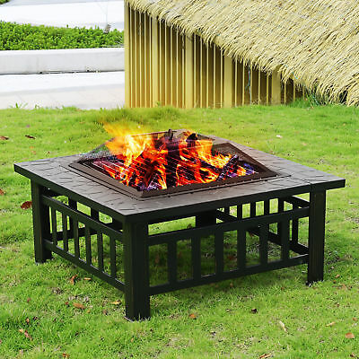 "32"" Outdoor Metal Fire pit Backyard Patio Garden Square Stove FirePit W/ Cover"