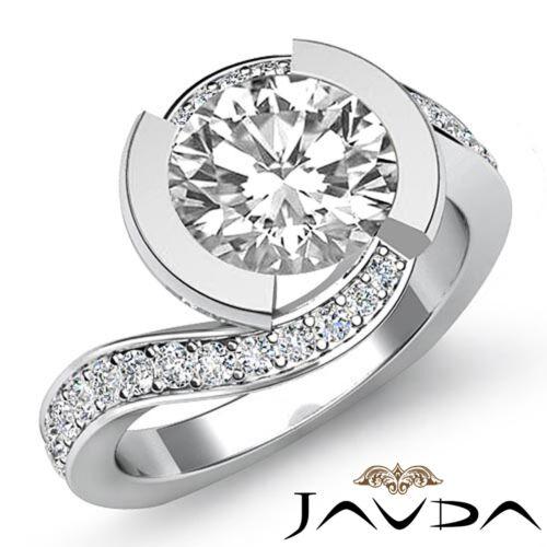 1.75ct Round Diamond Twist Shank Engagement Pave Ring GIA F VS1 14k White Gold