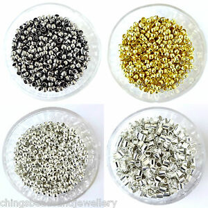 Gold-Black-Silver-Plated-Round-Tube-Crimp-Beads-2mm-3mm-4mm-Findings
