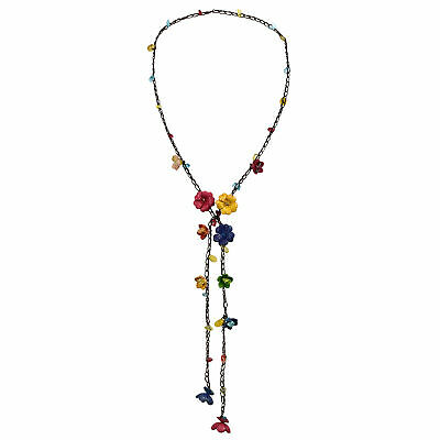 Chic Multicolor Daisy Floral Mix Stone Genuine Leather Lariat Wrap Necklace ()