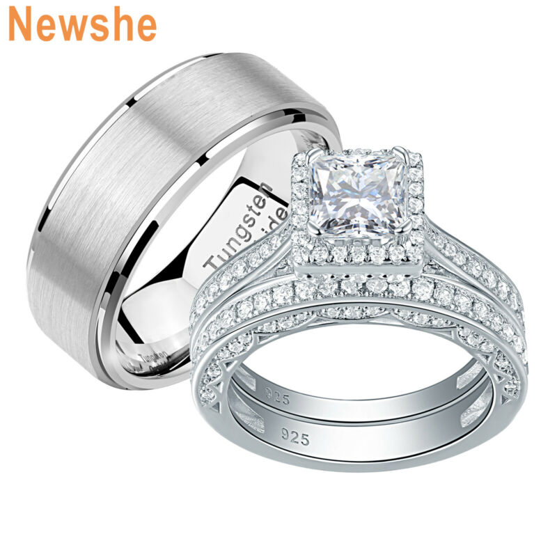 Newshe Wedding Rings Set For Women And Men Him Her Tungsten Bands Princess Cz