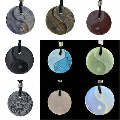 Yin Yang Gemstone Hand Carved Pendant Necklace Balance Meditation Zen Art Taiji
