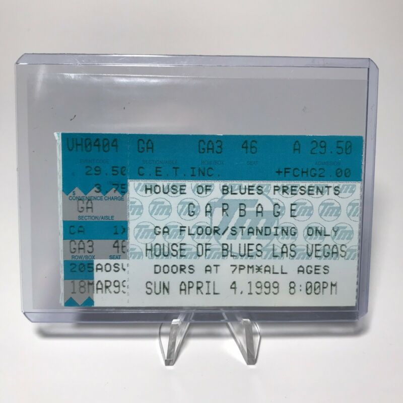 Garbage House Of Blues Concert Ticket Stub Las Vegas Vintage April 4 1999
