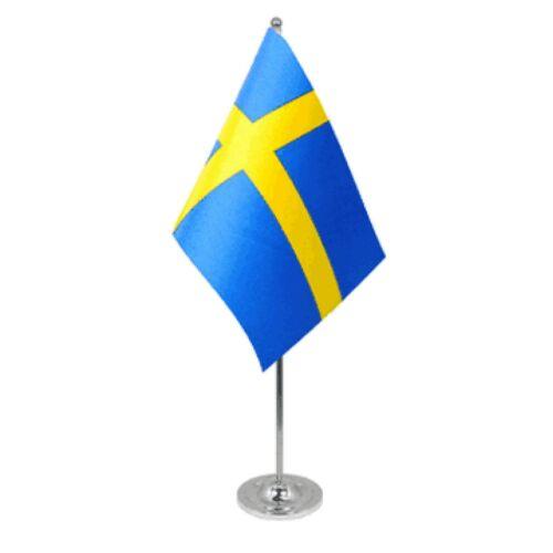 Sweden Satin & Chrome Premium Table Flag