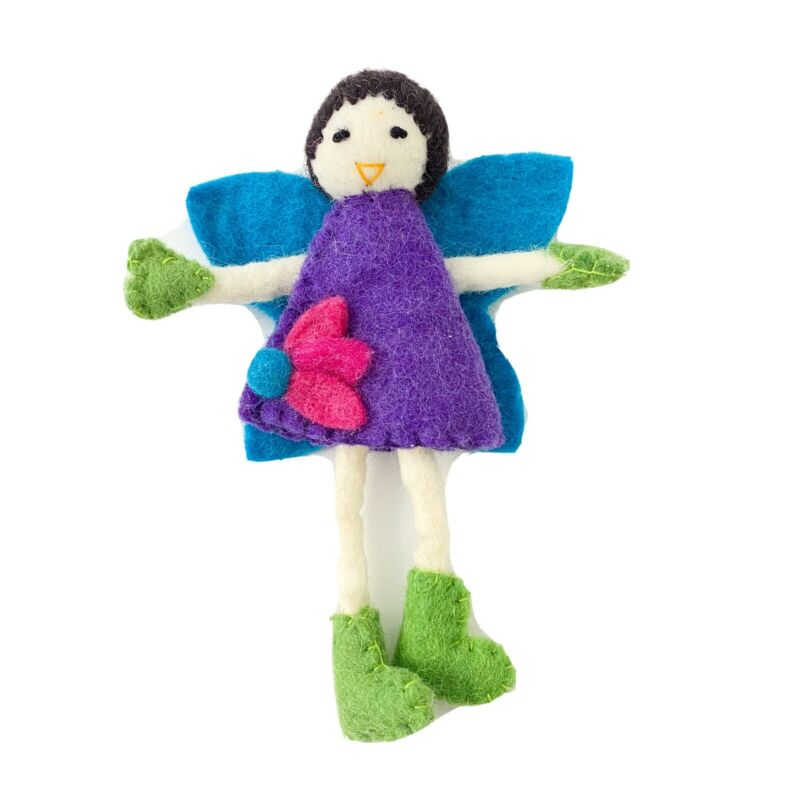 Hand Felted Tooth Fairy Toy Brunette with Purple Dress Nepal