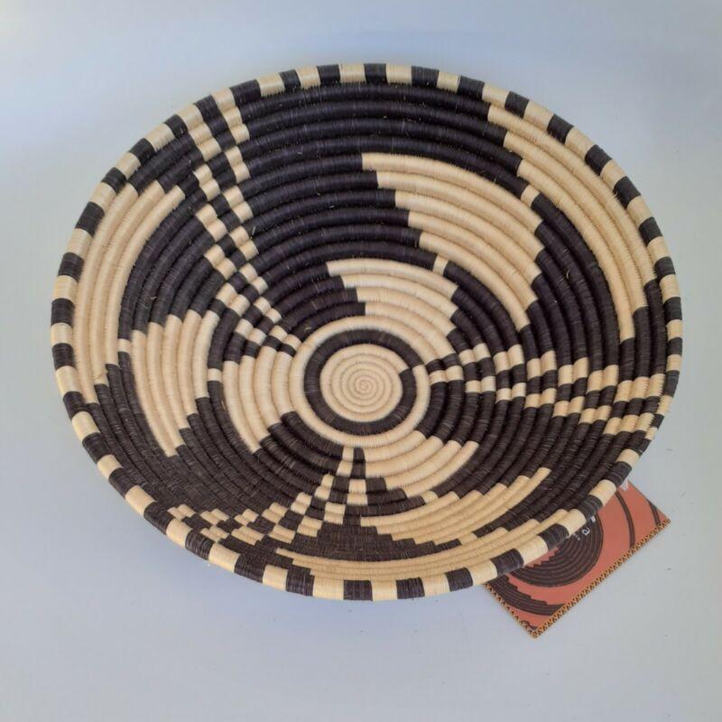 Rwanda Africa Basket Path to Peace Handmade Bowl Fruit New Brown Signed Decor
