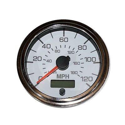 "GPS Speedometer, 3-3/8""/86mm,120 MPH,LED light,white/chrome,001-SP-WC/GPS"