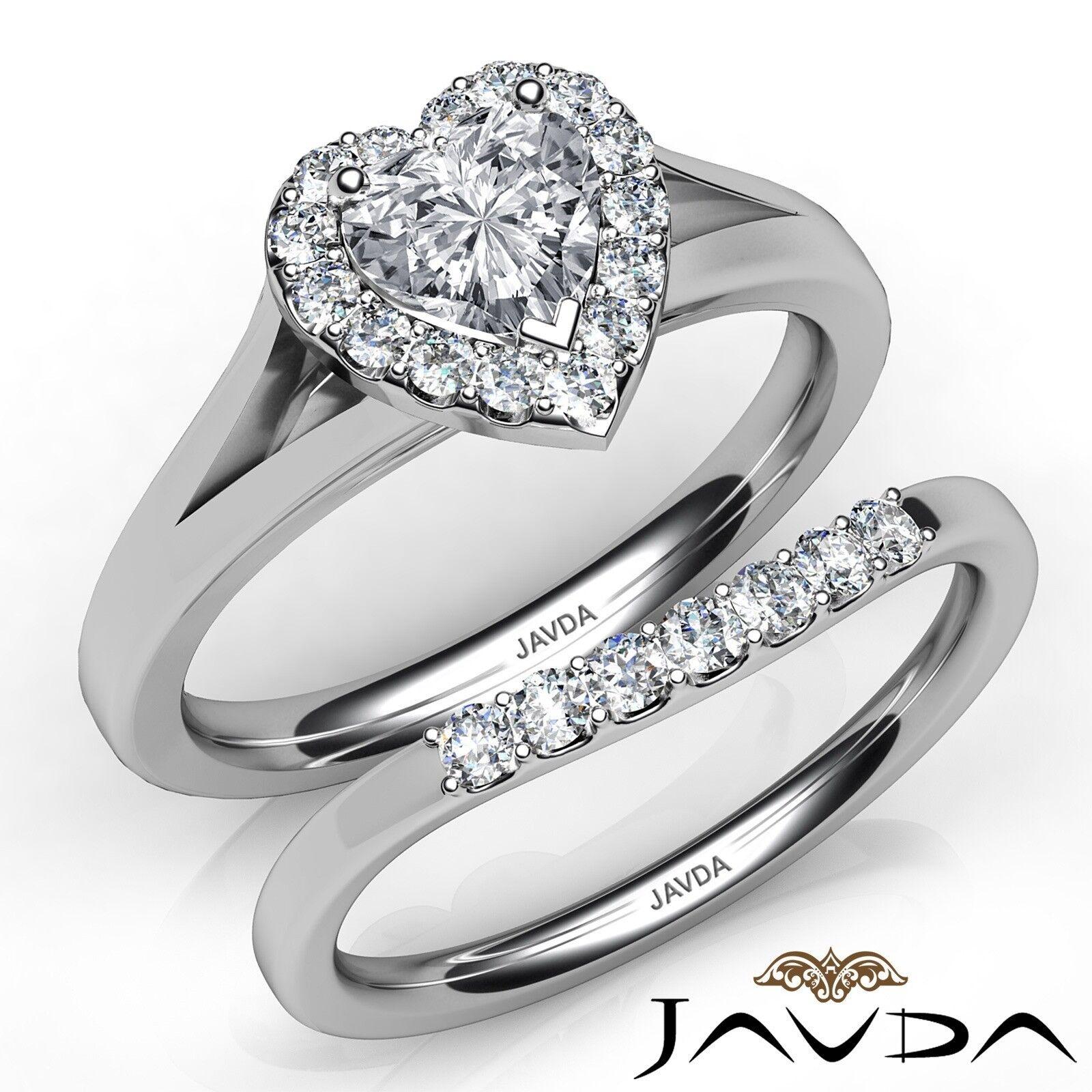 1.22ctw Pave Halo Bridal Set Heart Diamond Engagement Ring GIA F-VVS1 White Gold