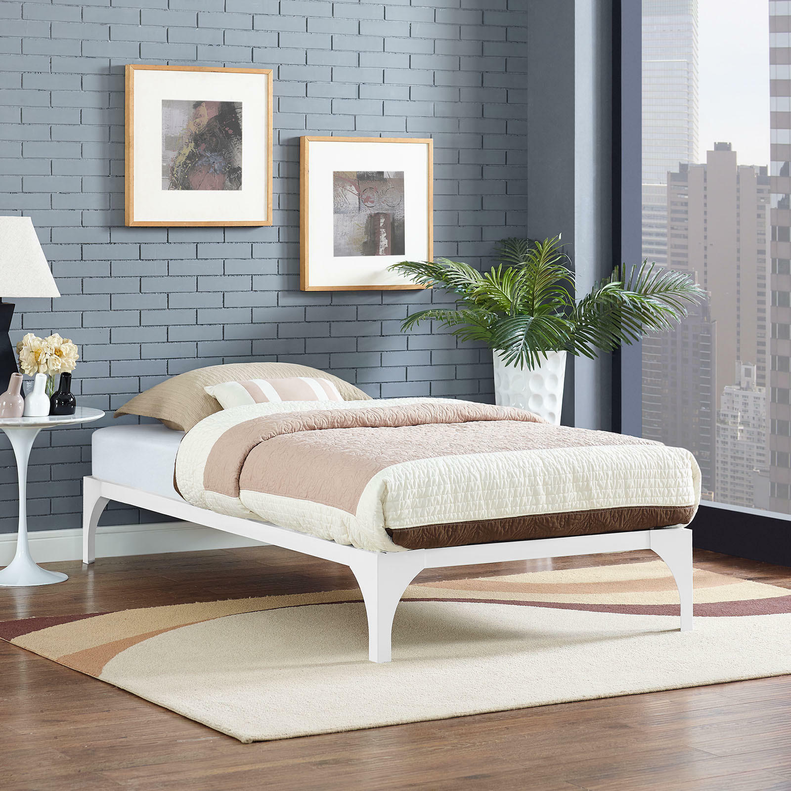 Details about Contemporary Modern Steel Metal Twin Platform Bed Frame With  Wood Slats in White