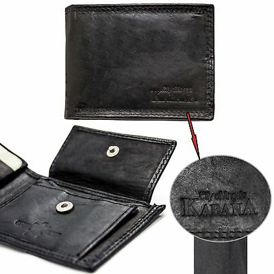 Schwarz Brieftasche Tasche (Leder Geldbörse Geldbeutel Herren Brieftasche Männer echt Schwarz Slim kleine)