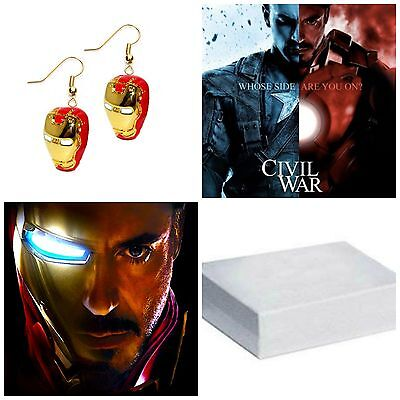 Superhero Super Hero Marvel Iron Man Helmet Dangle Earrings W/Gift Box - Super Hero Females
