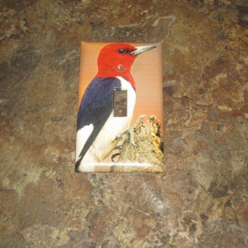 RED-HEADED WOODPECKER WILD BIRD LIGHT SWITCH COVER PLATE