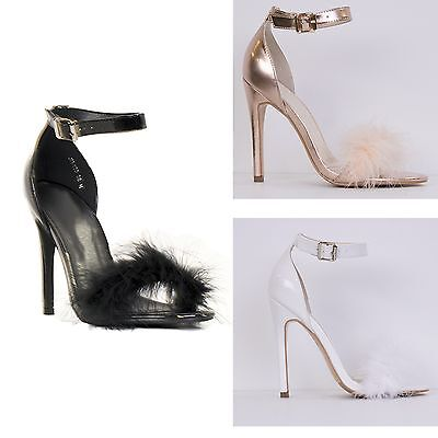 Womens Ladies Buckle Strap Fur Front High Heel Stiletto Shoes Size Buckle Womens High Heel