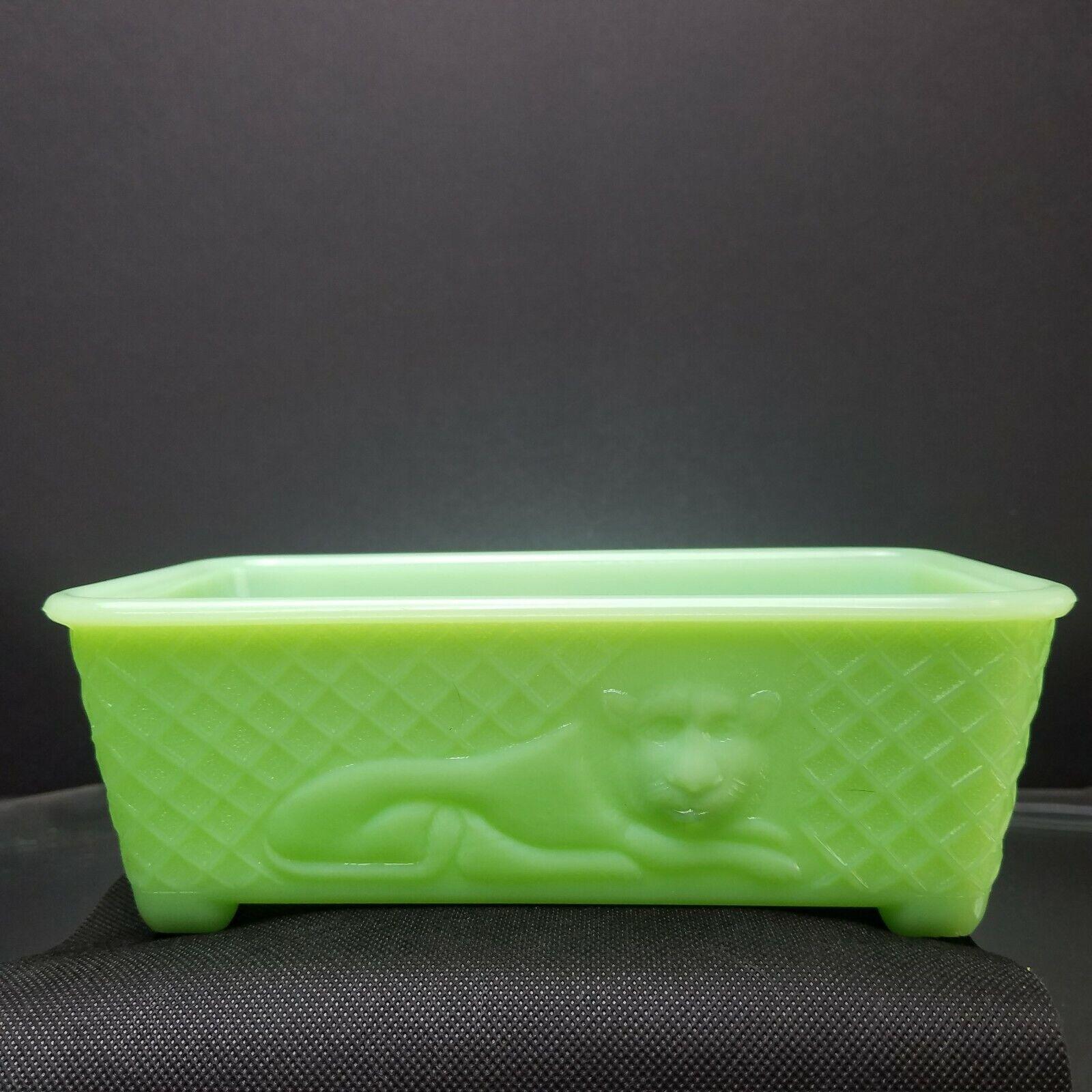 1930s McKee Glass Co Lion Window Planter 9 X 5 Art Deco Jadeite Skokie Green Box - $124.95