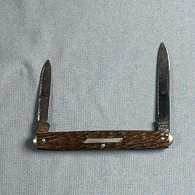 Vtg Schrade Cut Co Walden NY Folding Pocket Knife 2 Blades