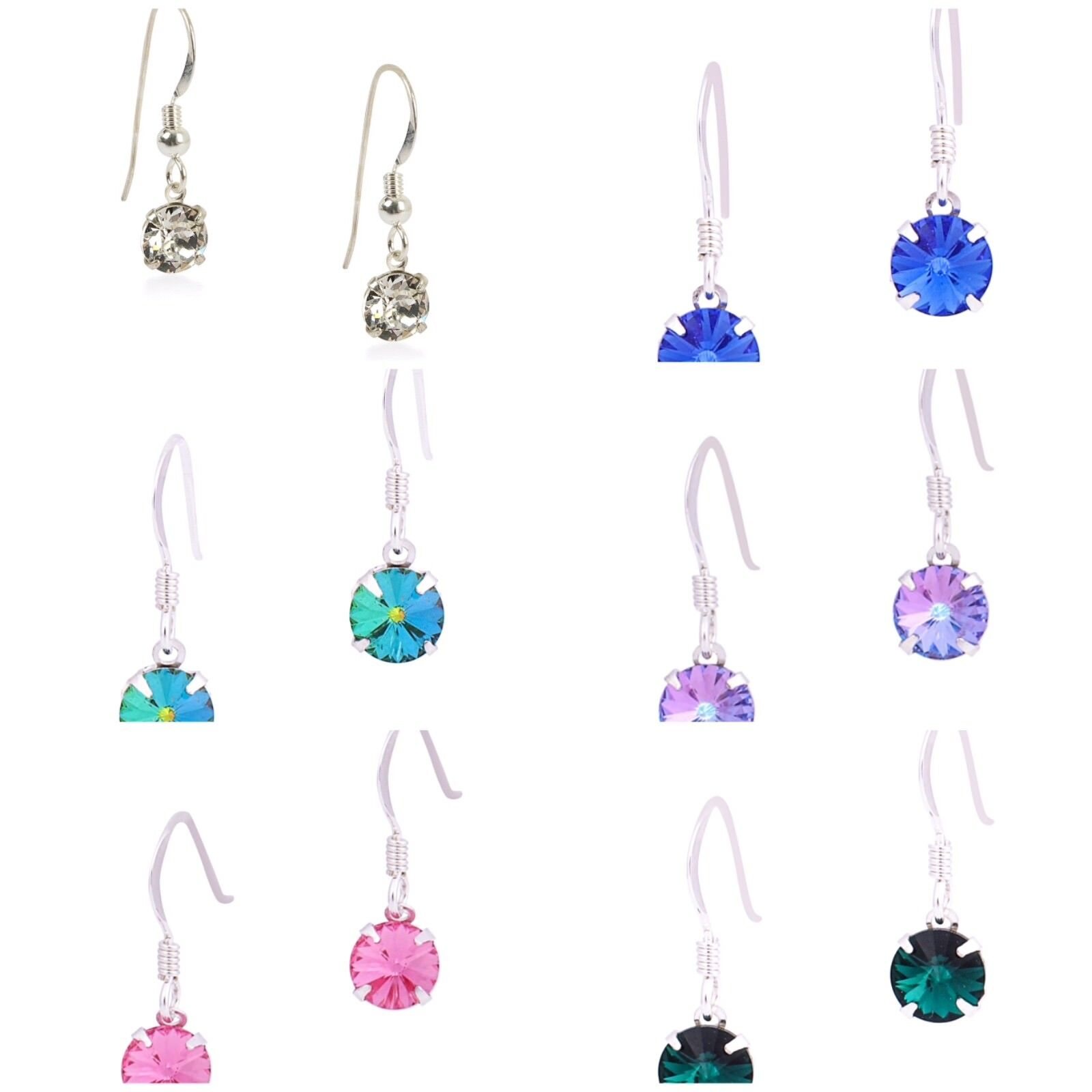 f035f75642b07 Details about 925 Sterling Silver Hook Earrings Made From Swarovski Crystal  In various Colours