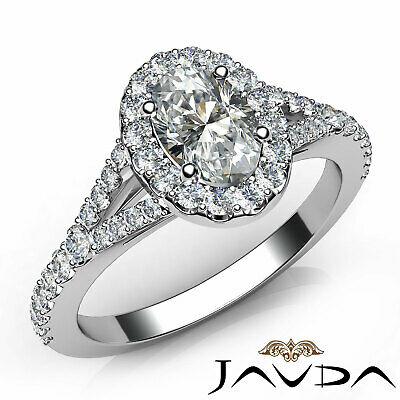 Split Shank Halo Oval Diamond French Pave Setting Engagement Ring GIA E VS1 1Ct