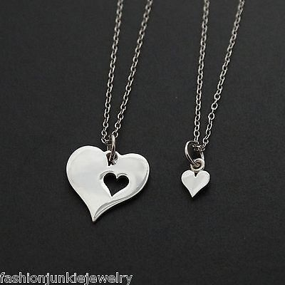 Mother Daughter Two Hearts Necklaces 925 Sterling Silver Love Pair Set Charm NEW