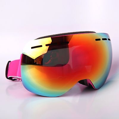 7a1313ddb67a Ski Goggles AntiFog CA   PC Double Lens 2 PCS Adult Snow Board Pink Frame