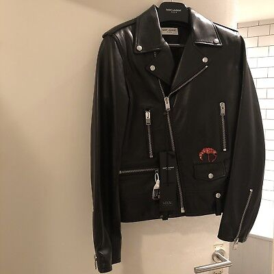 Saint Laurent Leather Biker Jacket Size UK36 RRP £3650 Flamingo Embellished BNWT