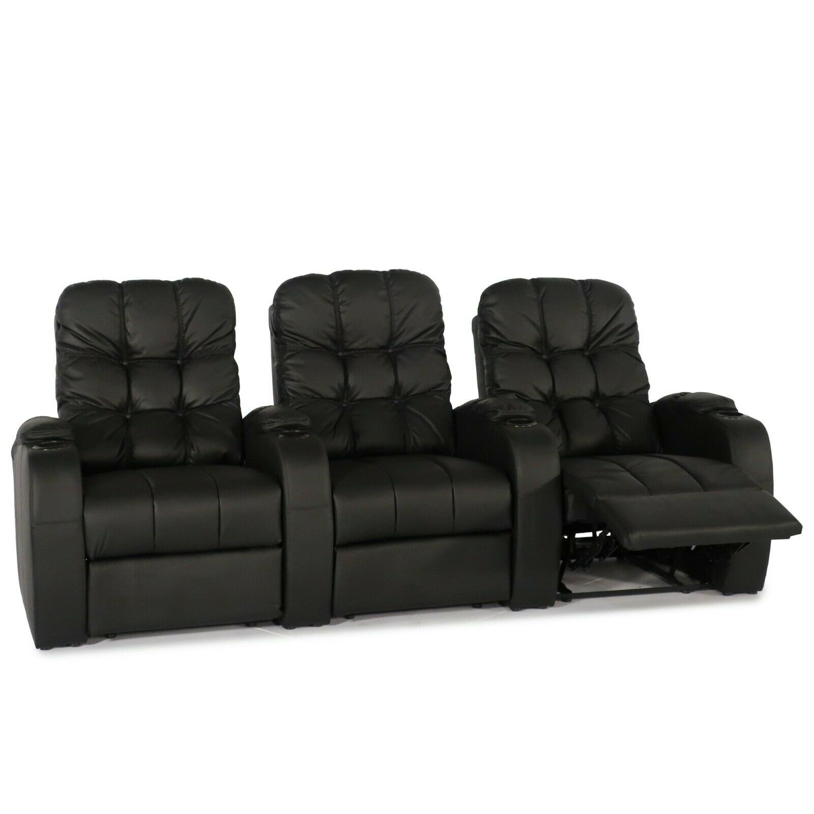 Seatcraft Windsor Grade Leather Black Home Theater Seat Manu