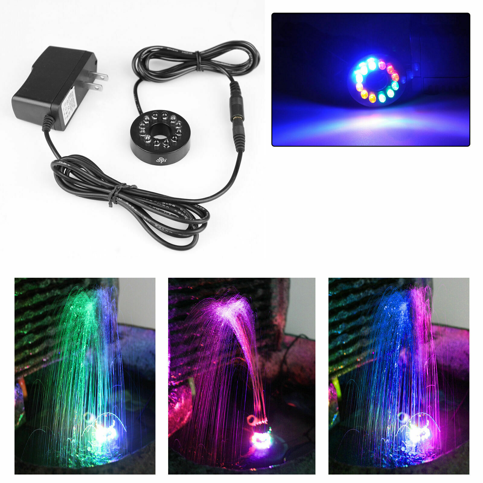 12 leds fountain ring lights auto colored