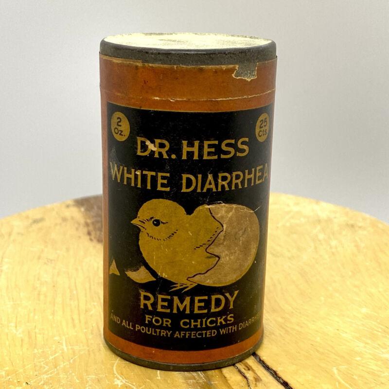 ANTIQUE RARE DR. HESS WHITE DIARRHEA REMEDY FOR CHICKS ADVERTISING TIN LITHO