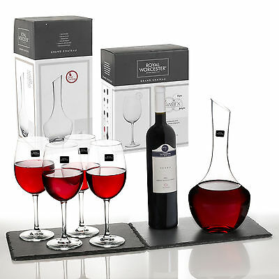 Royal Worcester Kwarx Crystal Glass Decanter & 4 Red Wine Glasses Gift Boxed Set
